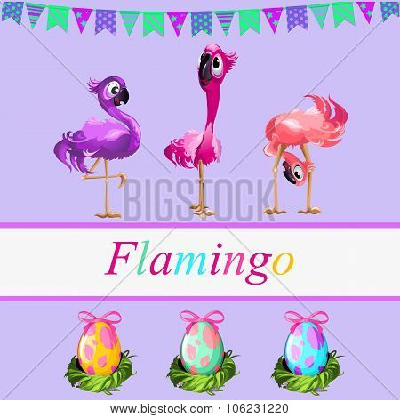 Fancy flamingos and colorful gift eggs