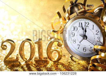 Nearly Twelve O'clock Midnight,New Year 2016 Concept.