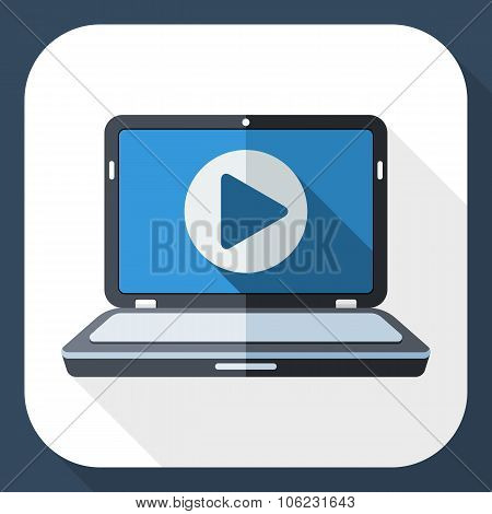 Laptop Icon With Play Button On The Screen And Long Shadow