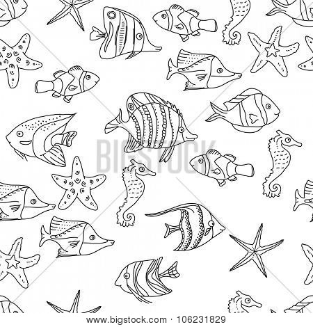 Seamless pattern with sea fishes. Black and white.  Endless texture for your design, announcements, postcards, posters.