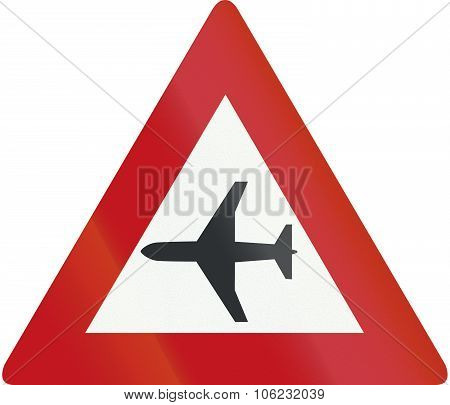 Netherlands Road Sign J30 - Low-flying Aircraft