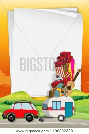 Roadtrip with car full of bags illustration