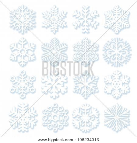Snowflakes with light shadows.
