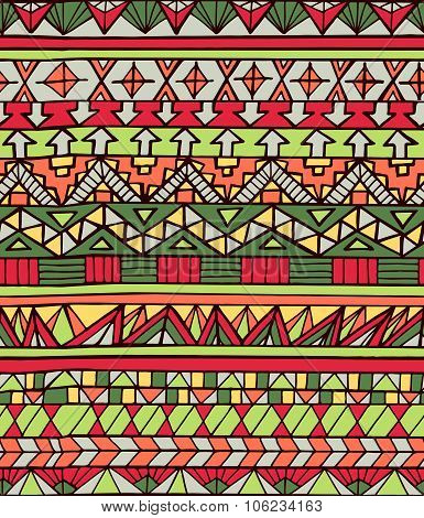 Hand Drawn Aztec Geometric Seamless Pattern In Red Colors