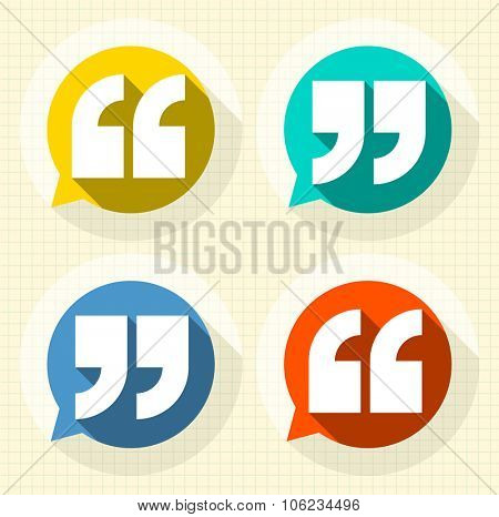 Quote sign  vector long shadow set.