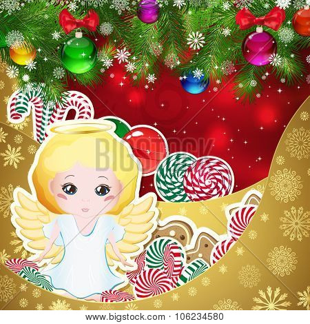 Angel on the background of sweets, decorated Christmas balls branches. Red background and gold layers, decorated with snowflake patterns. Christmas card.