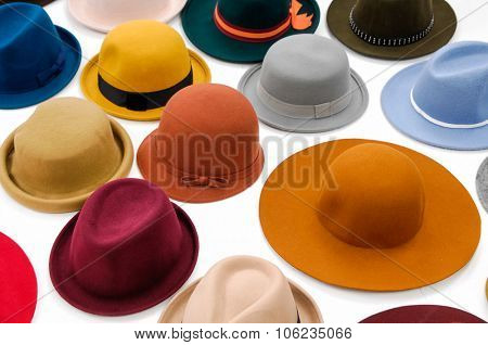 Top view many woman hat isolated