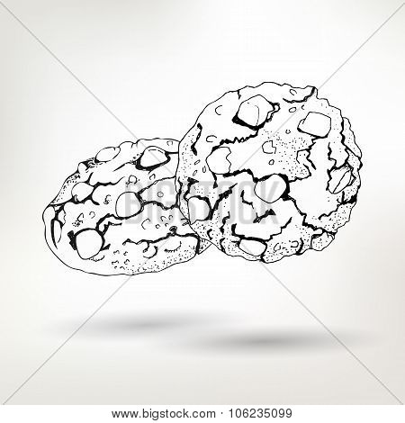 Simple pen drawing vector Biscuits with nuts