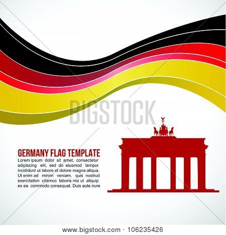 Germany flag wave and Brandenburg Gate, Brandenburger Tor