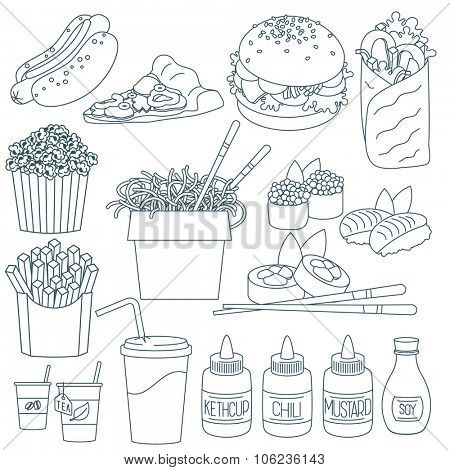 Set of thin line fast food vector icons.
