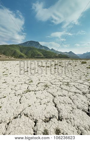 Drought land and the  mountains