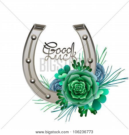 Horseshoes in silver color with succulent design