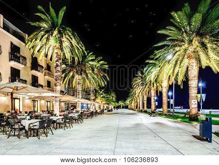 Promenade In  Tivat, Montenegro In The Night