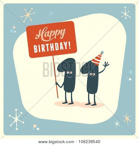 Vintage style funny 11th birthday Card.