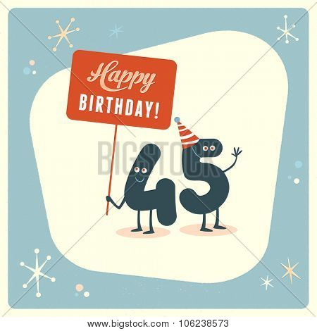 Vintage style funny 45th birthday Card.