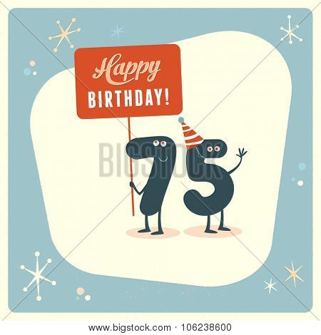 Vintage style funny 75th birthday Card.