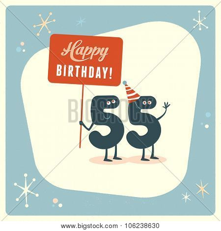 Vintage style funny 55th birthday Card.