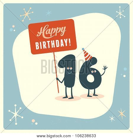 Vintage style funny 16th birthday Card.