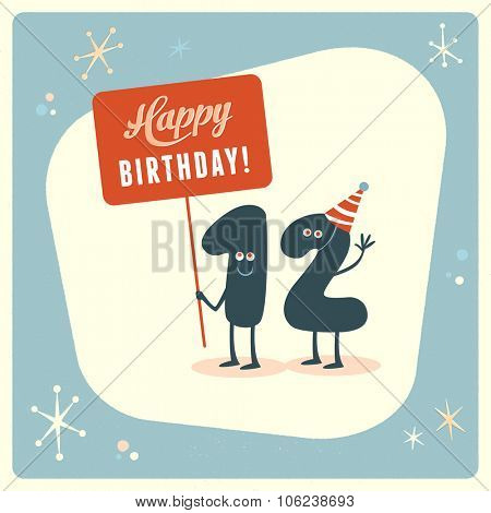 Vintage style funny 12th birthday Card.