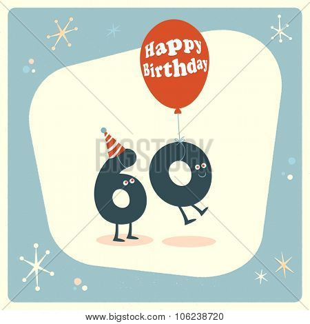 Vintage style funny 60th birthday Card.
