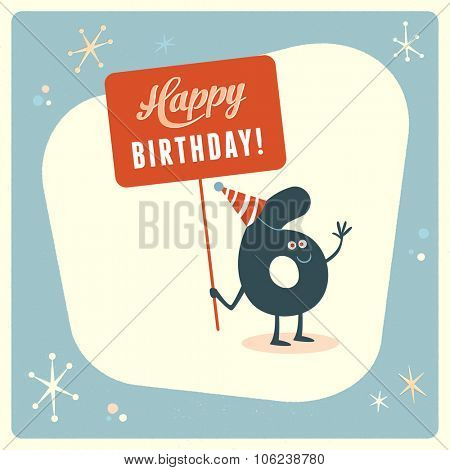 Vintage style funny 6th birthday Card.