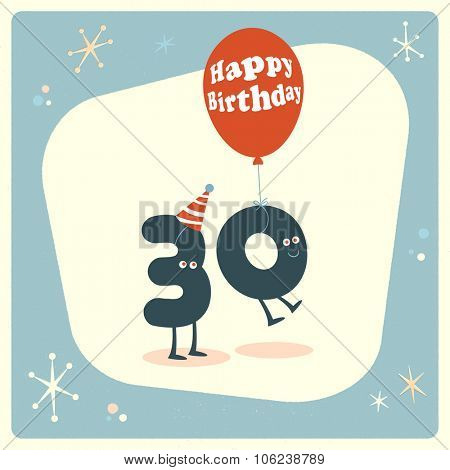Vintage style funny 30th birthday Card.