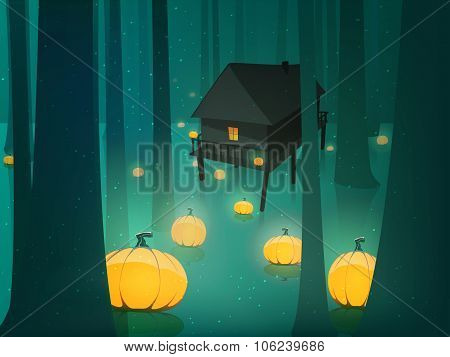 Halloween Pumpkin In Moon Light Forest Swamp