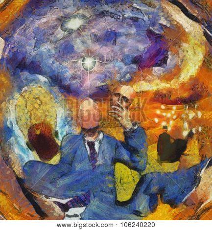 Surreal Abstract with Human figures in suit This image is entirely my own creation, from my own images and is legal for me to sell and distribute