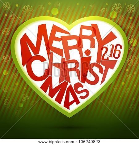 Merry Christmas Heart label at magic green background