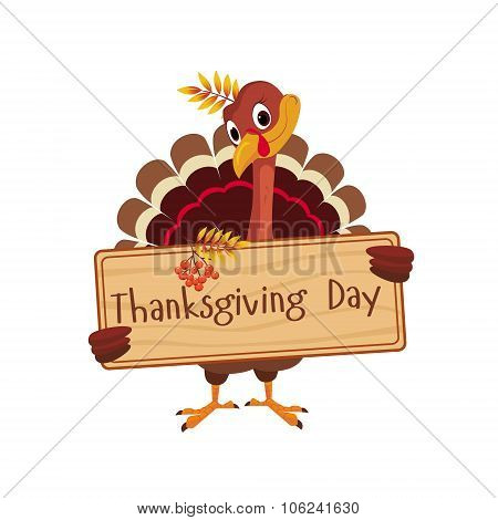 Turkey Holding a Board with Greeting on Thanksgiving, Vector