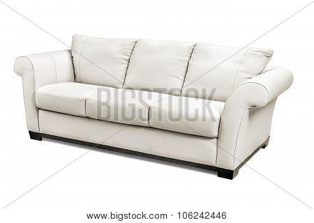 Luxury Leather Sofa Isolated On White Background