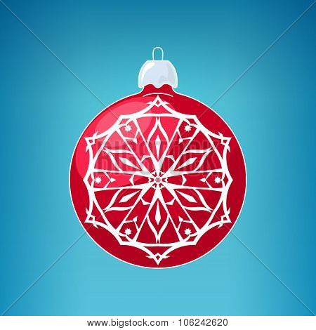 Red Ball With Snowflake , Merry Christmas