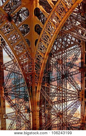 Rusty Background  With Eiffel Tower 9
