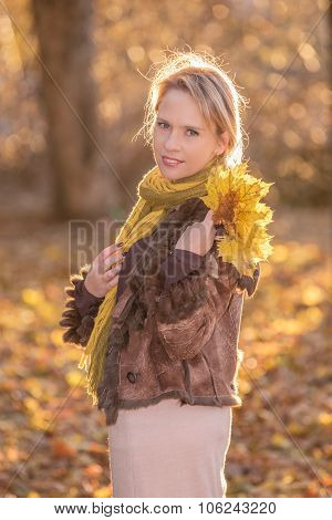 Woman  in the autumn