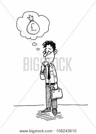 Businessman Wondering About Money (Pound Sterling)