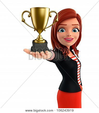 Young Corporate Lady With Trophy