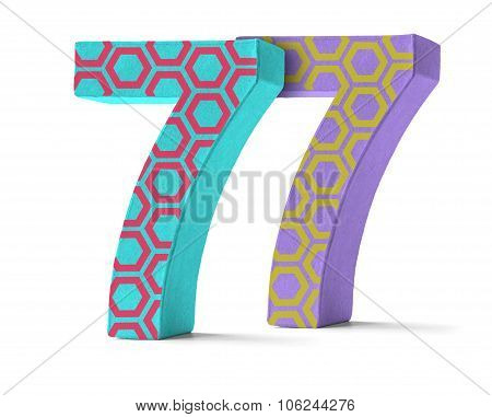 Colorful Paper Mache Number On A White Background  - Number 77