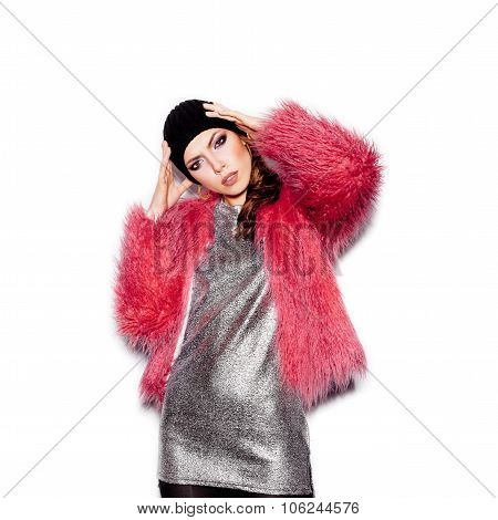 Swag Girl Wearing Silver Dress, Pink Fur Coat, Black Beanie Hat