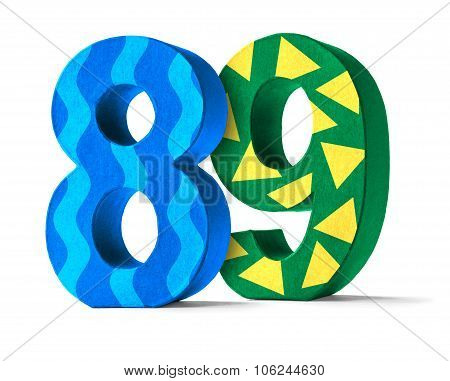 Colorful Paper Mache Number On A White Background  - Number 89