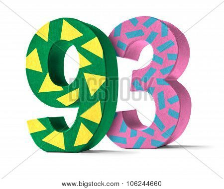 Colorful Paper Mache Number On A White Background  - Number 93