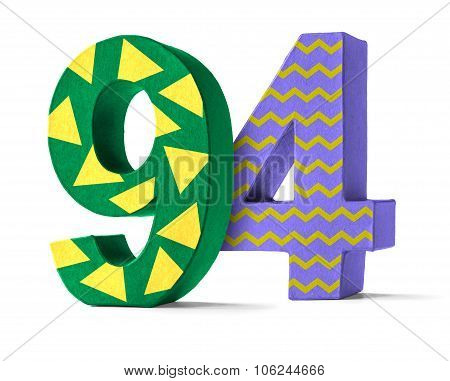 Colorful Paper Mache Number On A White Background  - Number 94