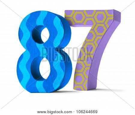 Colorful Paper Mache Number On A White Background  - Number 87