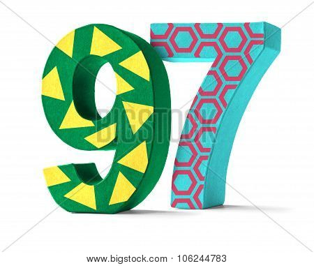 Colorful Paper Mache Number On A White Background  - Number 97