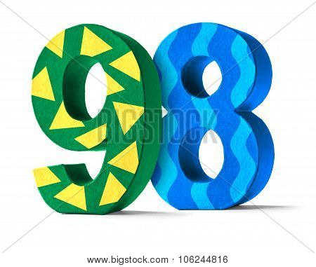 Colorful Paper Mache Number On A White Background  - Number 98