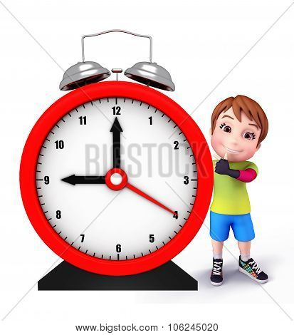 Cute Kid With Table Clock