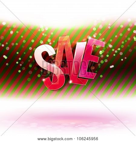 Red and green stripes with Sale message