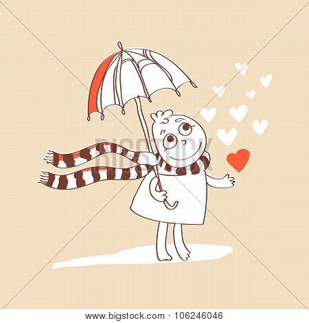 Cute romance card with cartoon, umbrella and hearts