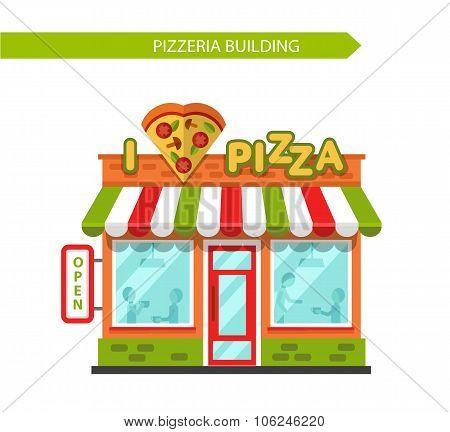 Illustration of pizzeria building