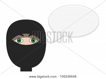Portrait Of Talking Ninja With Blank Speech Bubble