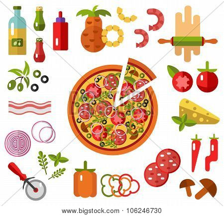 Pizza with slice and ingredients
